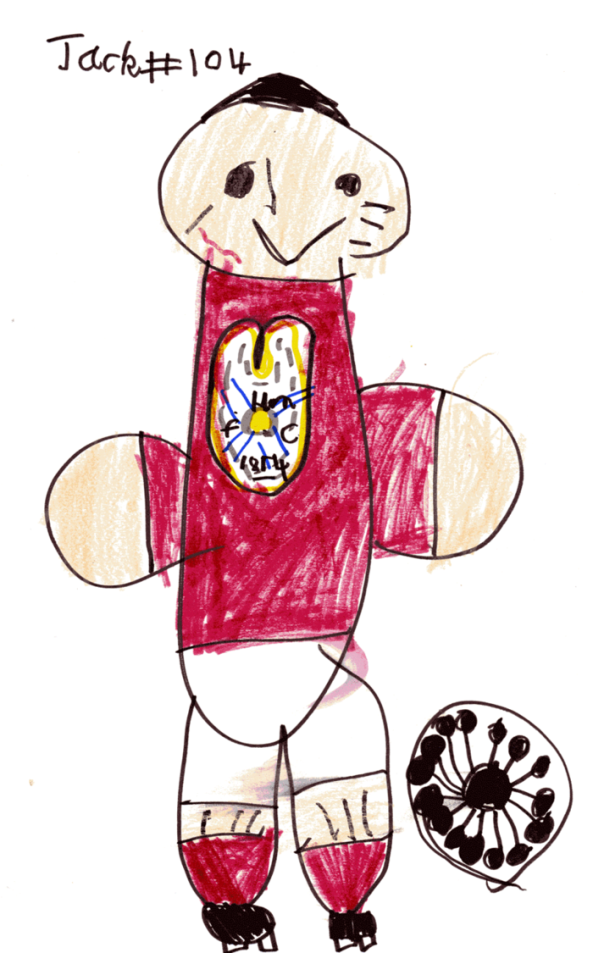 My Grandson George (6) in a Hearts Football strip drawn by Jack Henderson (6), now an internet sensation as 'Jack Draws Anything'